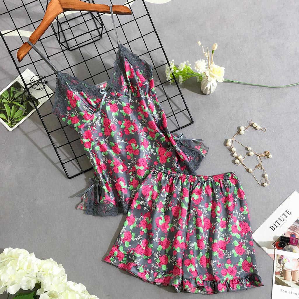 Frauen Nachtwäsche Pyjamas Set Sommer Spaghetti Strap Silk Sexy Satin Dessous Spitze Femme Hause Nachtwäsche Mini SleepSkirt Kleidung
