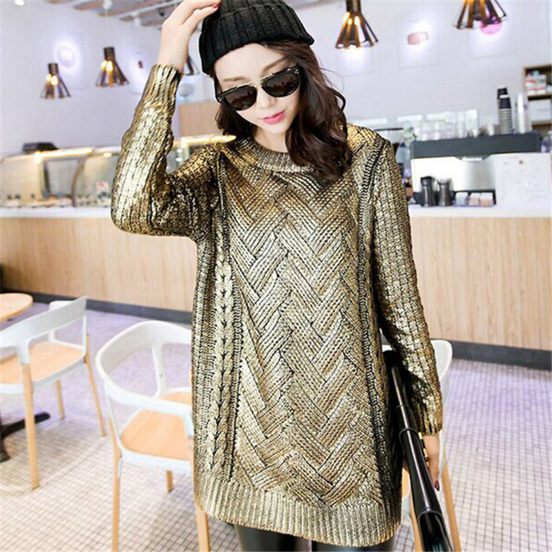 Shinny Bronzing Glitter Knitwear Ladies Gold Silver Round Neck Sweaters Casual Gold Silver Women Pullovers