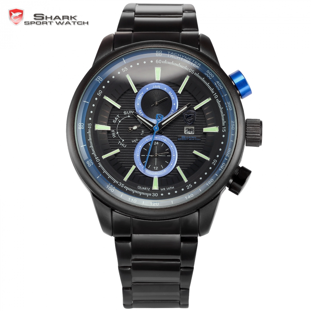 Gummy SHARK Sport Watch Black Blue Analog Date Day Month Display Stainless Steel Band Quartz Military Men's Wristwatch / SH373 weide new watch analog digital display outdoor men sport quartz movement military watch back light stainless steel band 6 colors