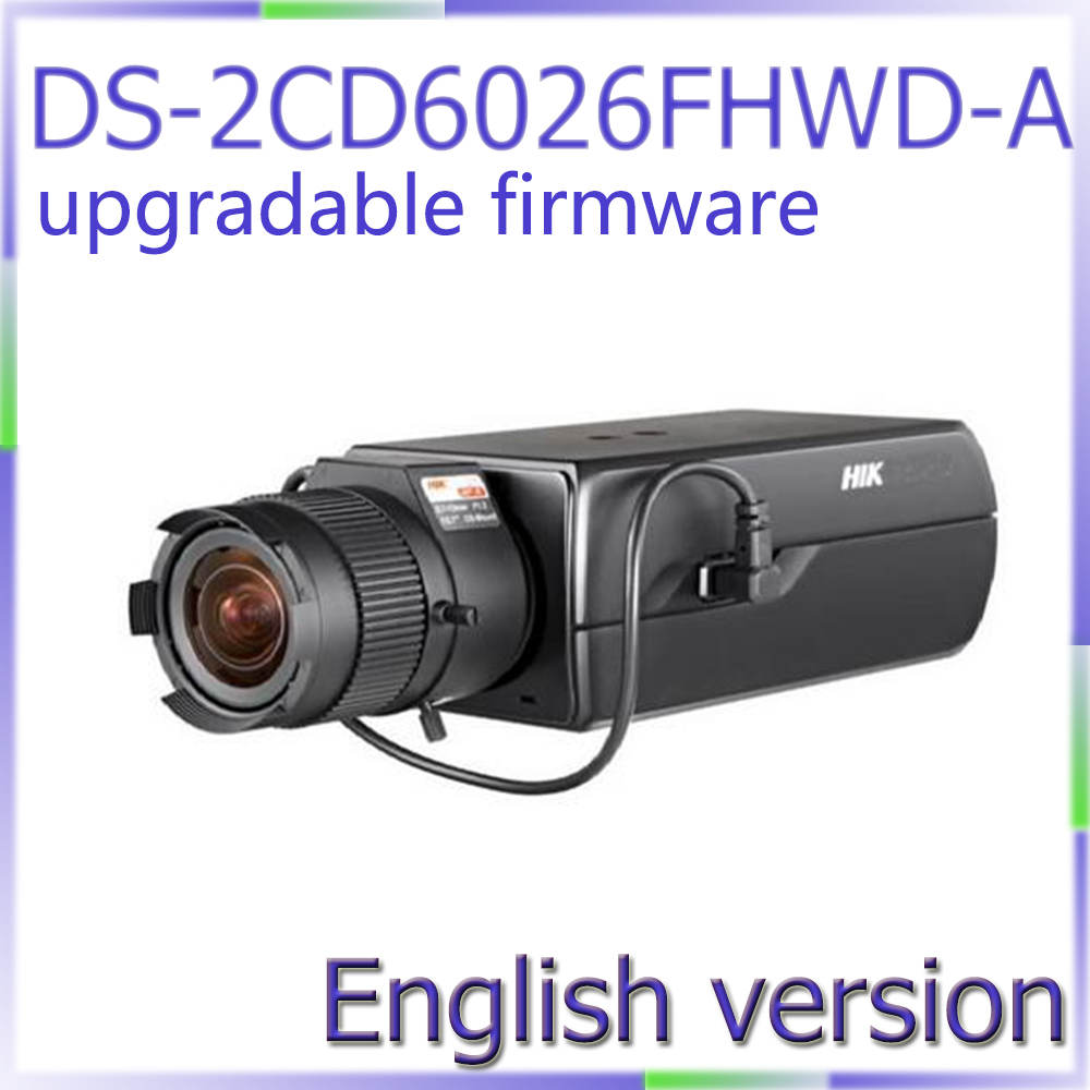 Free shipping English version DS-2CD6026FHWD-A 2MP Ultra Low-light Box CCTV Camera POE, smart face detection, built-in mic hikvision ds 2df8223i ael english version 2mp ultra low light smart ptz camera ultra low illumination dark fighter
