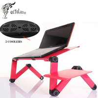 Portable Folding Laptop Notebook Computer Stand Table Desk Bed Office Sofa Tray With 2 USB