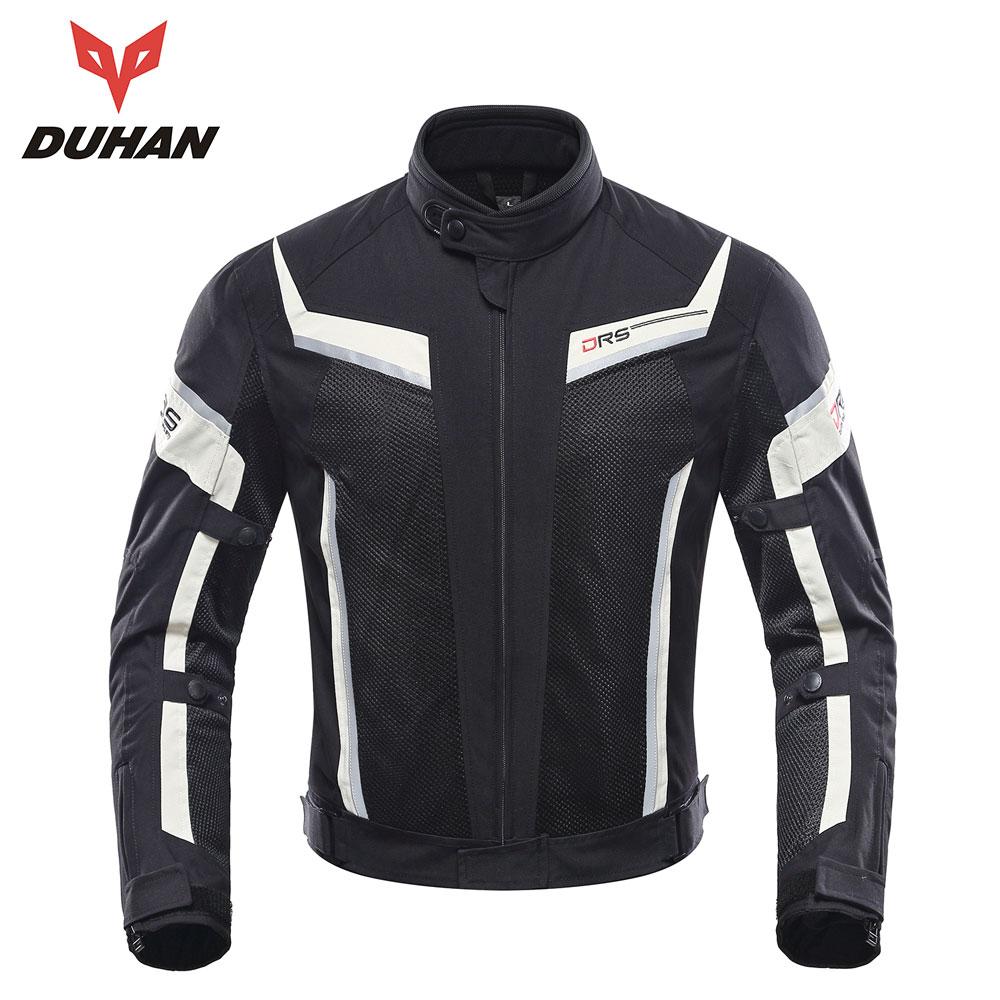 Duhan jaqueta da motocicleta dos homens calças moto verão terno de proteção da motocicleta malha moto corrida jaquetas roupas motorbiker blouson