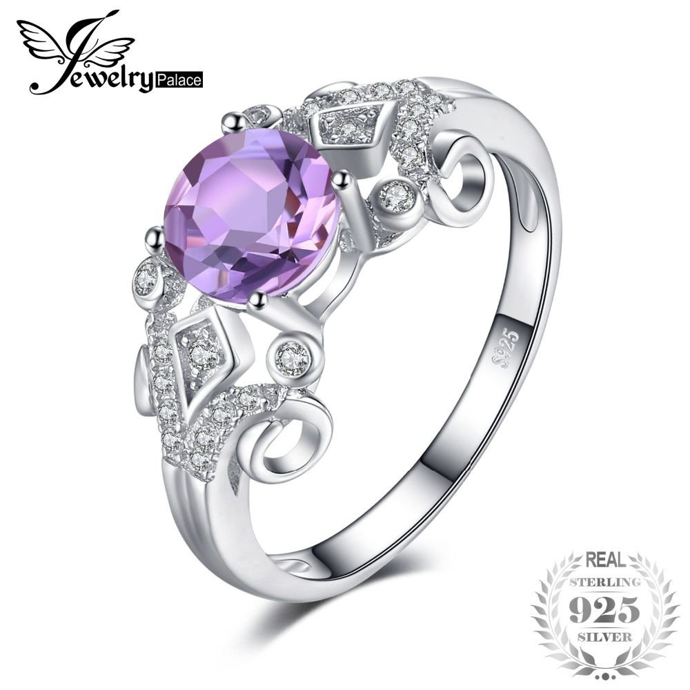 JewelryPalace Vintage Style 1ct Genuine Oval Amethys Anniversary Engagement Ring 925 Sterling Silver Jewelry for Women vintage oval carved ring for women