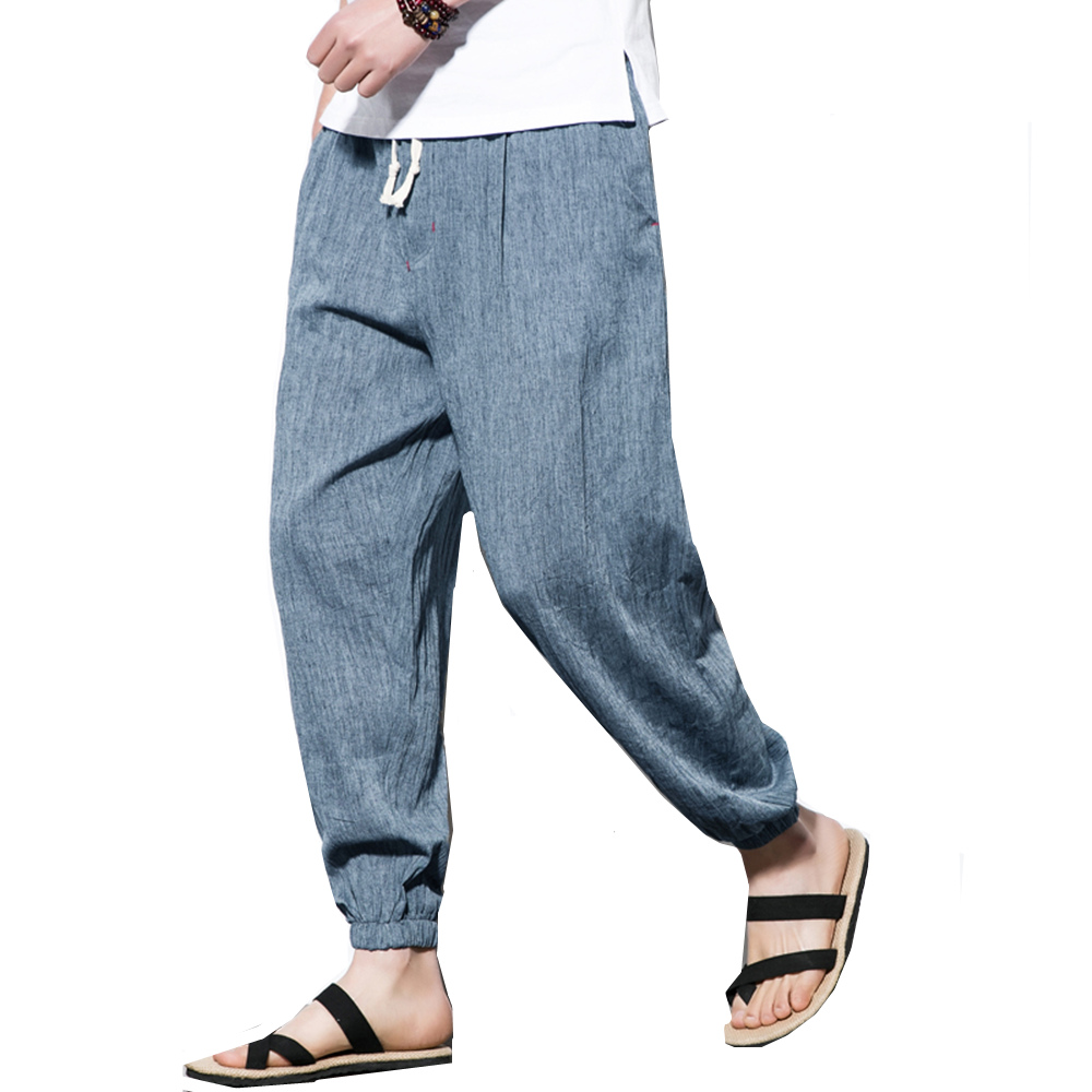 2018 Fashion Men Cotton Linen Harem Pants Fashion Simple Casual Baggy Bottoms Loose Trousers Chinese Traditional Harajuku