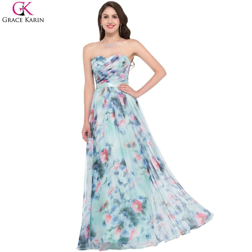 Grace Karin Sweetheart Blue Floral Pattern Evening Dress Long ...