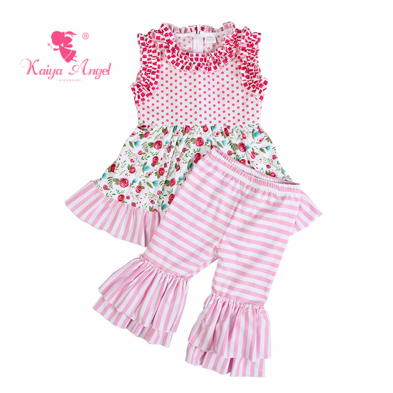 a5ce23521c3 Kaiya Angel Boutique Outfits Factory Wholesale Toddler Pink Flower Spring Summer  Children Clothing Girls Tracksuits Set-in Clothing Sets from Mother   Kids  ...