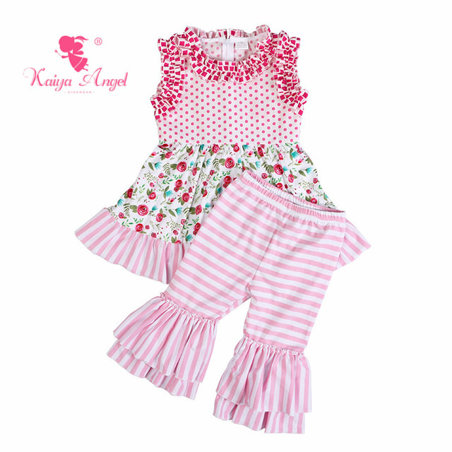 Kaiya Angel Boutique Outfits Factory Wholesale Toddler Pink Flower