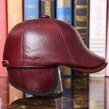Chapéu de beisebol de couro genuíno dos homens do inverno adulto da pele de carneiro bonés de beisebol moda proteção de orelha quente chapéu de beisebol B 7287