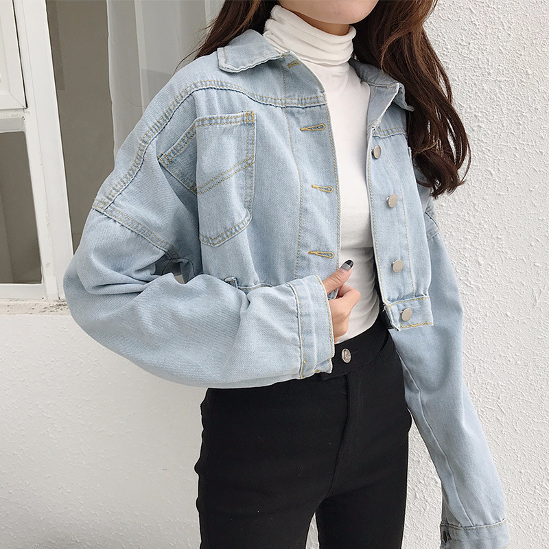 2018 Women Basic Short Denim Jacket Girls Jeans Jackets   Coat   Women Korean Loose Outerwear   Coats   BF Style Long Sleeves Crop Denim