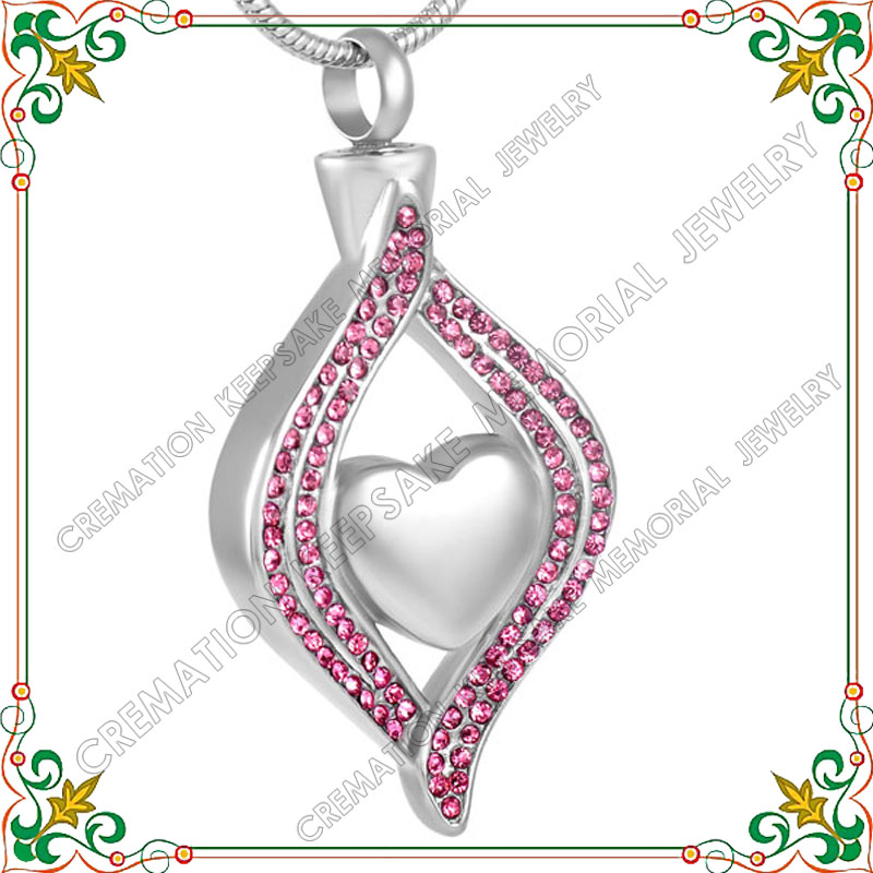 CMJ8111 Cremation Jewelry unique heart in teardrop urn for ashes memorial for ashes hair pet or loved one