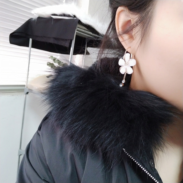 2018 New Korean 6 Petal Acrylic Zircon Tassel Earrings Brincos OorbellenTransparent Earrings Wholesale Women's Earrings