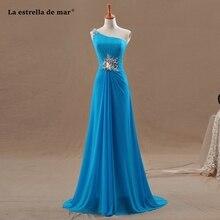 Vestido de madrinha de casamento longo new chiffon one shoulder crystal a Line turquoise blue