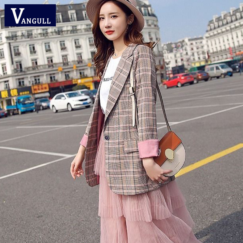 Vangull Women Plaid Blazer Casual Long Sleeve Slim Checked Coat 2019 New Formal Office Suit Lady Outerwear Spring Autumn Jacket