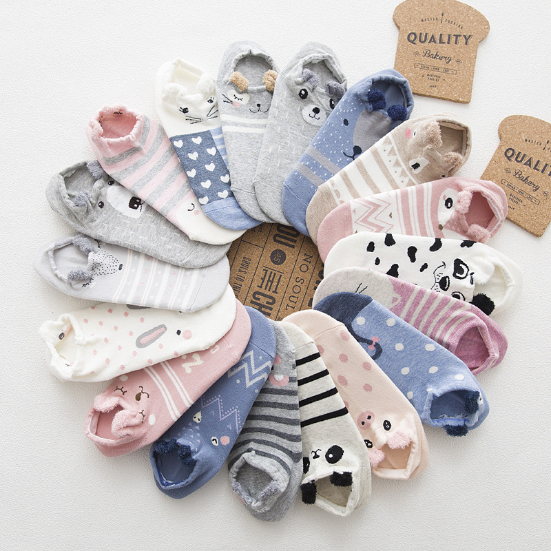 Cute Women's   Socks   Cotton Cartoon Animal Print Short   Sock   Stereoscopic Ear Breathable Funny   Socks   Female