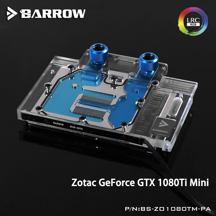 Barrow BS-ZO1080TM-PA LRC RGB v1/v2 Full Cover Graphics Card Water Cooling Block for ZOTAC GeForce GTX1080Ti Mini цена