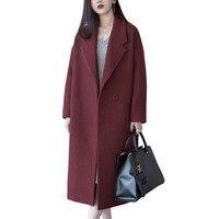 Women Coat Autumn Winter Plus Size Female Coat Medium Long Outerwear Women's Cardigan Woolen Coat Winter Jacket Women 5XL C3794
