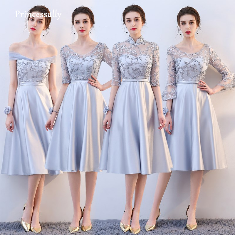 Robe De Soriee New Grey Bridesmaid Dresses Tea-length Satin Lace A-line Simple Cheap Prom Dress For Wedding Party Vestidos Dama
