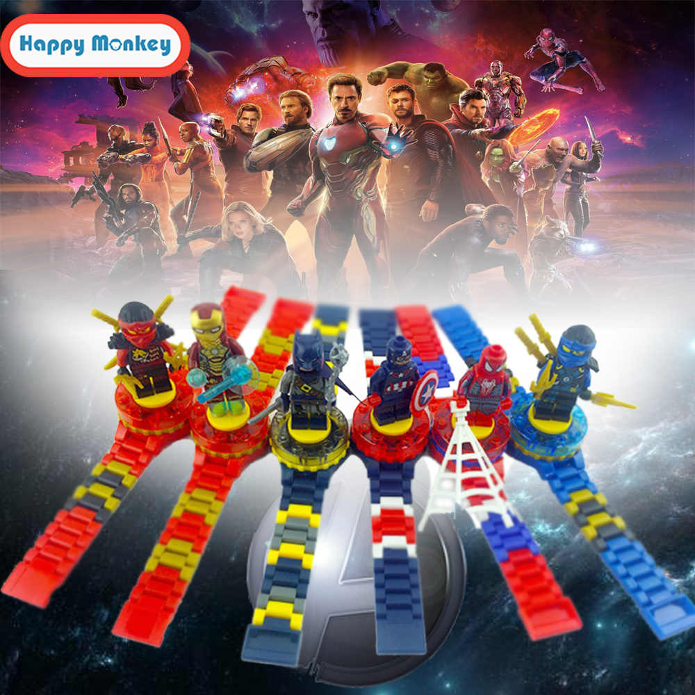 2018 Super Hero Watch Building blocks Ninjagoed Marveling Avengers Figures Bricks Toys Compatible with Legoly Block Watch wy30