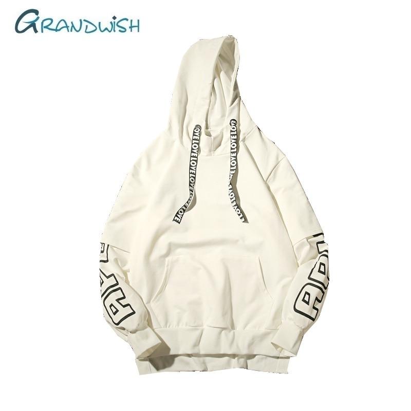 Grandwish Men Hoodie Spring Autumn Fashion Print Sweatshirt Hip Hop Streetwear Men's Harajuku Balck White Hoodie for Men,ZA158