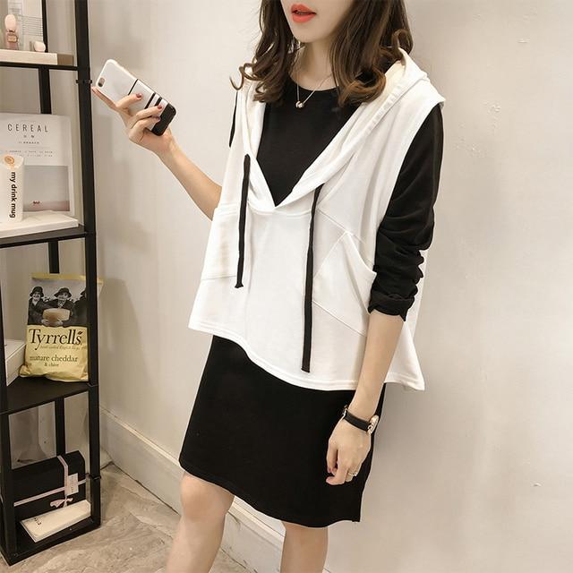 2016 autumn plus size oversized 4XL 2 piece set women dress suits black long t shirt+sleeveless hood vest tracksuit female blusa