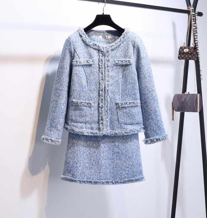 2018 Deux Femmes Mode Manteau Courte Costumes Élégant Automne Laine Des Manches À De Perles Longues Jupe Nouvelle Et Pièces Veste En Bleu D'hiver r5pFYqUrn