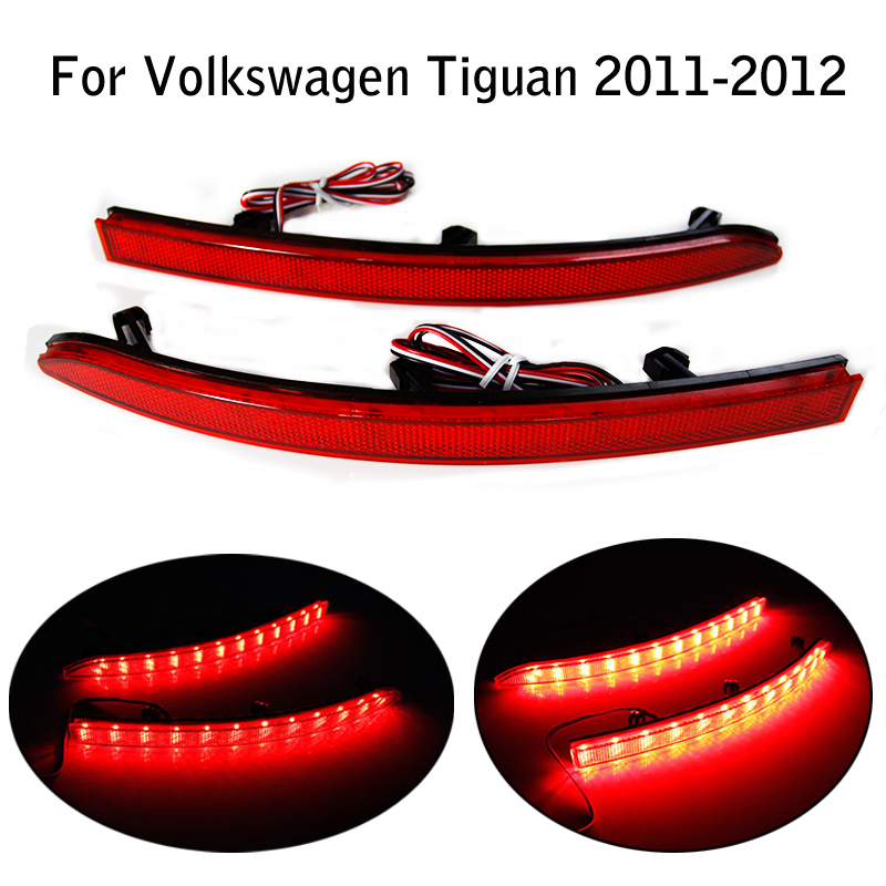 LED Rear Reflectors Light for Volkswagen Tiguan 2011-2012 Bright Red Lens Auto Car Tail Fog Lamp Brake Stop Night Running Lights  1 piece red rectangle red len led reflectors brake light universal motorcycle brake light car brake lights moto stop light