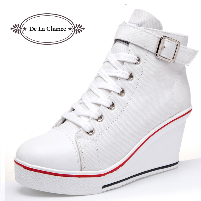 De La Chance Womens Shoes High Top Buckle Fashion Wedge -8659