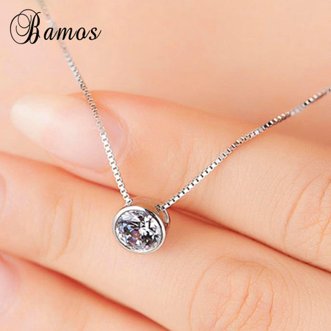 Bamos Simple & Fashion 925 Silver Filled Bridal Choker Round White AAA Zircon Pendants & Necklaces For Women Lover Gifts HP045 Islamabad