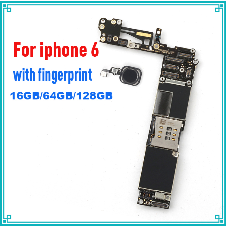 Original motherboard for iphone 6 Black color with home button Fingerprint Identification IOS system 16G/64G/128G board