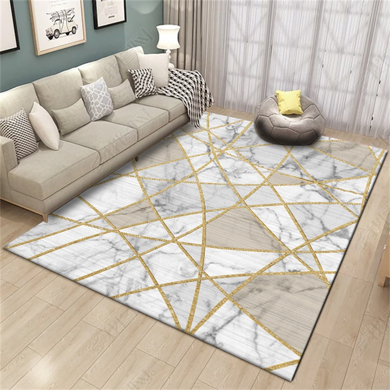 Fashion nordic style white marble gold line bedroom big - Gold rug for living room ...