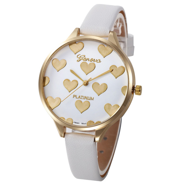 Women Fashion Watch Heart Pattern PU Leather Analog Quartz Wrist Watch Clock Lad