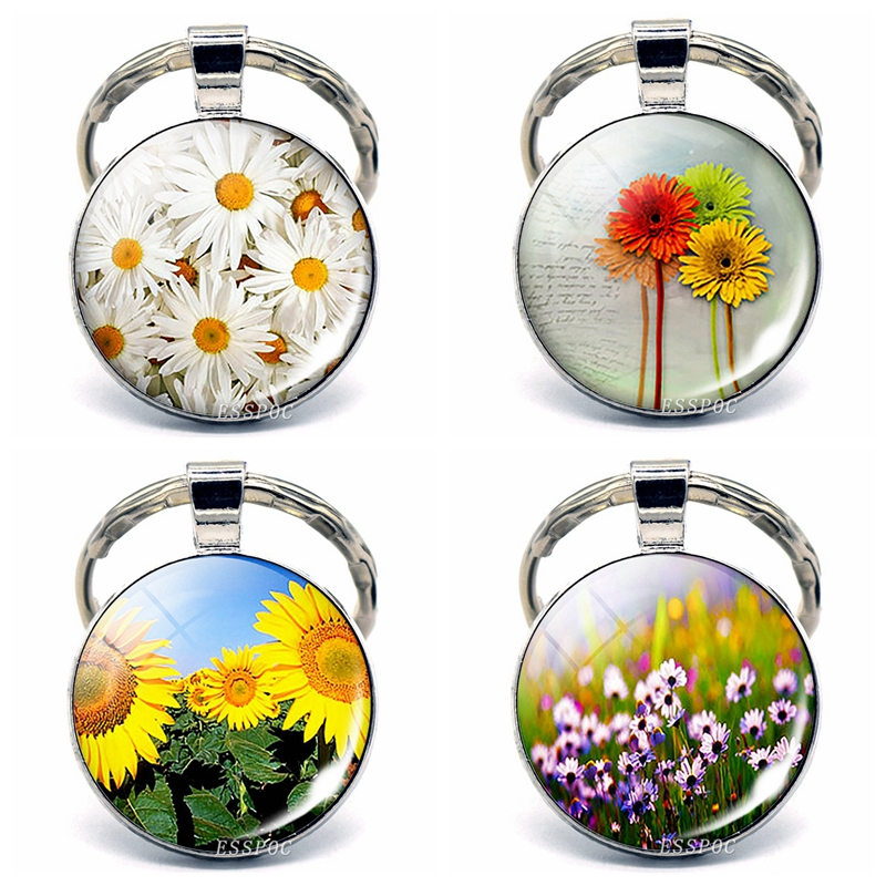 Small Daisies, Carnations, Sunflowers Picture Glass Cabochon Keychain Flowers Keychain Mother's Day Gift
