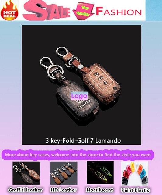 Высокое качество автомобиль стайлинг обложка детектор кожа ключи сумка чехол интеллектуальные / складной граффити специально для VW Golf7 гольф 7 Lamando