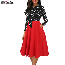Women 3/4 Sleeve Black White Polka Dot Patchwork Dresses Ladies Bow Tie Pocket Female Party Fit and Flare A-line Dress Vestidos