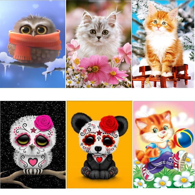 DIY 5D Diamante Mosaico Gato de la Historieta Diamante Hecho A Mano - Artes, artesanía y costura