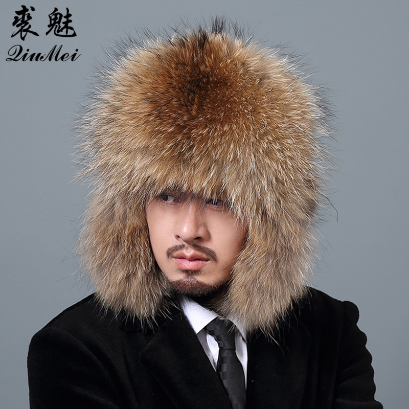 Silver Fox Fur Winter Men's Hats With Genuine Leather Tops Real Raccoon Fur Bomber Hat Ear Flaps Winter Warm Russian Men Caps men baseball cap winter warm earflap dad hat siggi wool faux fur russian casquette gorras fitted bomber earmuff protection 67134