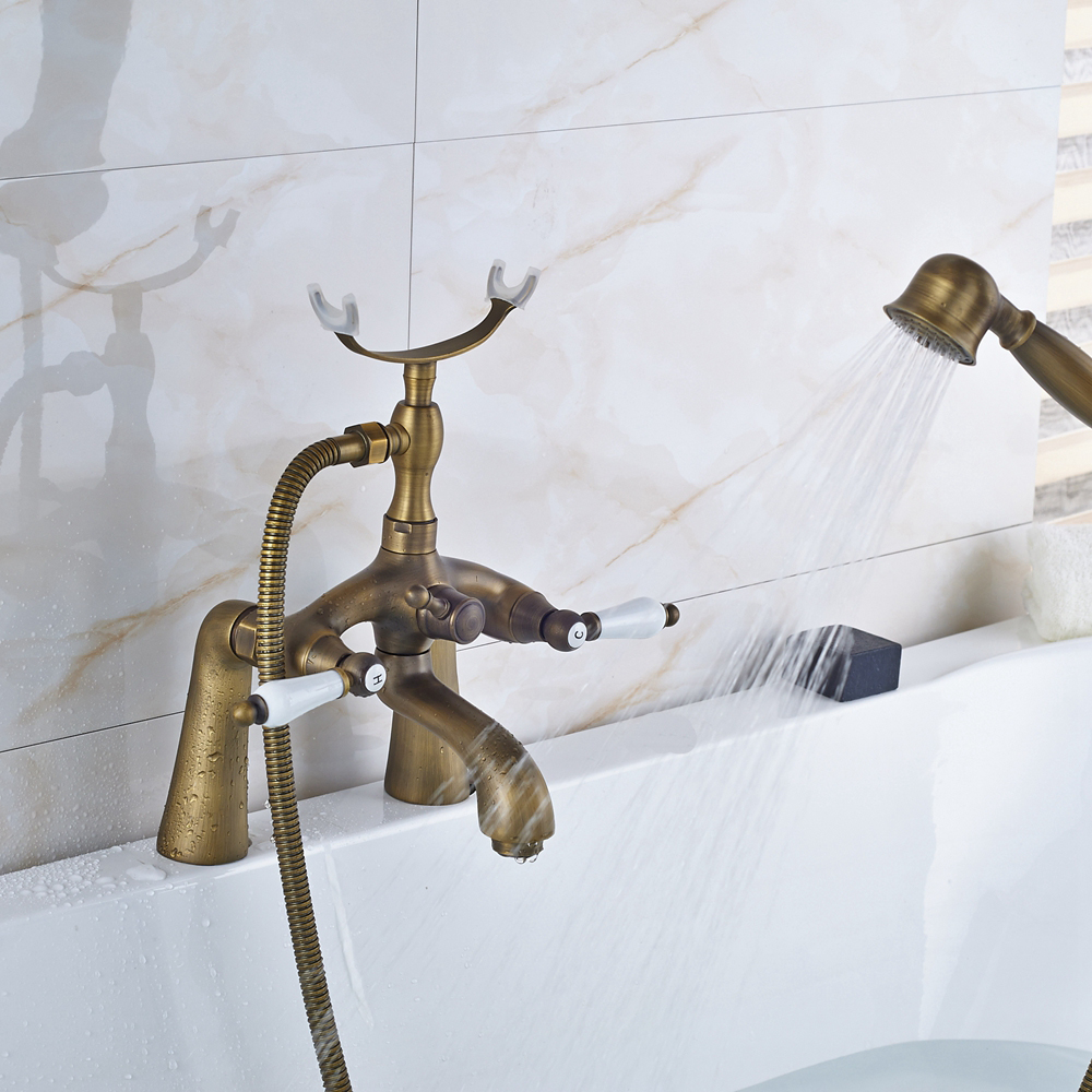 Solid Brass Antique Brass Shower Faucet Tub Mixer Tap W/ TELE Hand ...