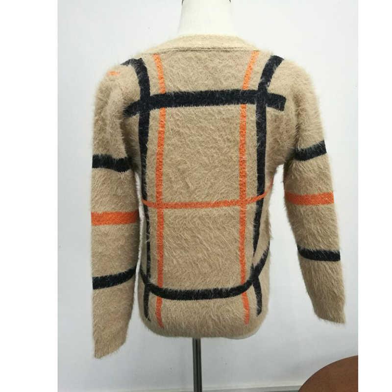 RUGOD 2019 модные офисные женские кардиганы с v-образным вырезом английские клетчатые карманы базовый женский свитер длинный рукав кнопка Женское пальто