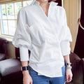 White Blouse Women Elegant Work Wear Pocket Turn Down Collar Latern Sleeve Cotton Top Shirt blusas feminina E315