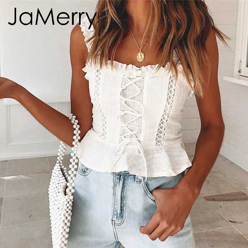 JaMerry Vintage sexy white lace women tank tops Strap ruffle crop top camis female Summer hollow out lace up camisole tops 2019