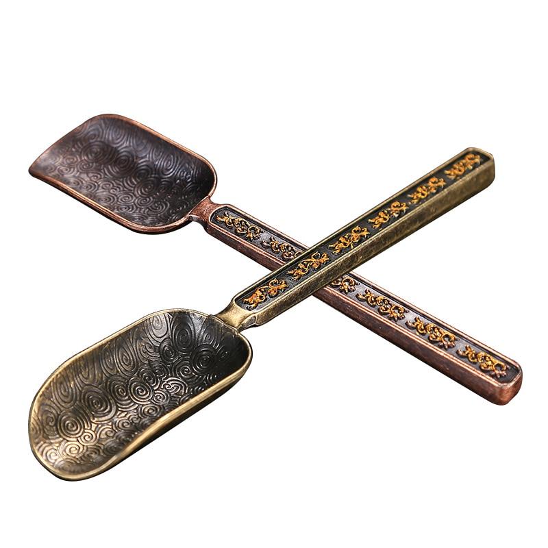 Chinese Tea Spoons Copper Tea Scoop Spoon Tea Leaves Chooser Holder High Quality Chinese Kongfu Tea Accessories Tools