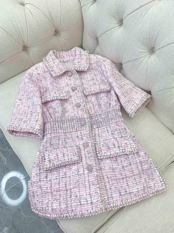 2019 new ladies fashion short sleeved lapel dyed yarn dress 0601
