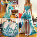 Elegant a-line querida Hi Lo 2016 Prom Dress Glamorous Applique ocasião Formal vestidos Lace vestidos Backless Prom vestido