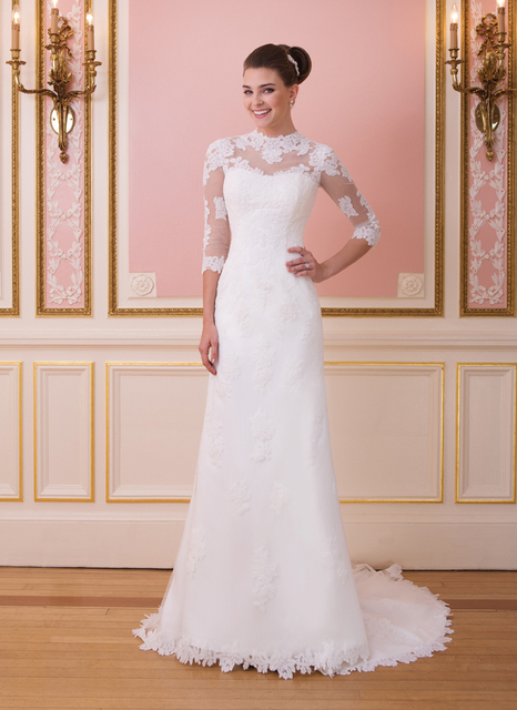 New Arrival Modest High Neck Lace Wedding Dress with Sleeves 3/4 ...