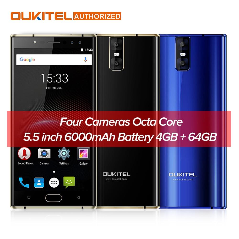 OUKITEL K3 16.0MP + 2.0MP 4 Caméras 4g SmartPhone 6000 mah MTK6750T Octa base Android 7.0 4g 64g 5.5 ''Mobile Téléphone Portable D'empreintes Digitales
