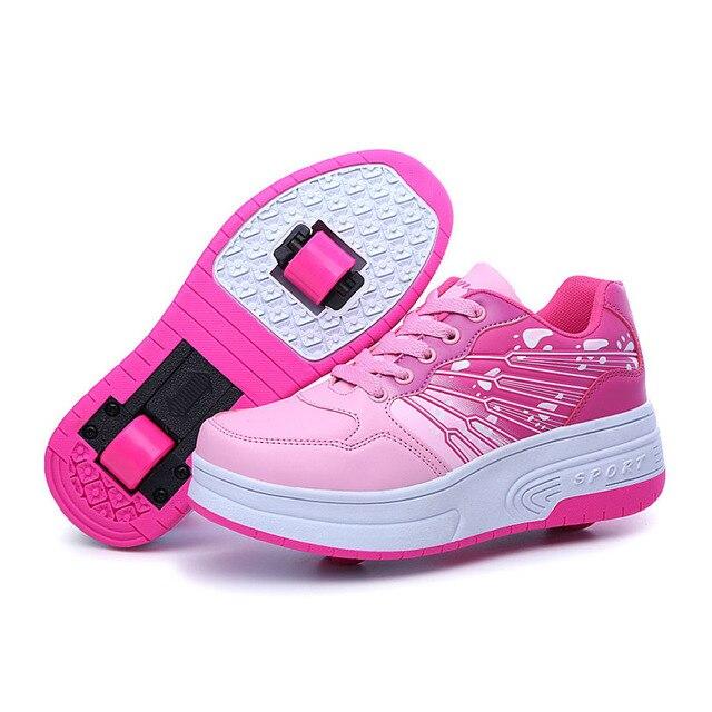 081882abcaa Crianças Sapatilhas Com Rodas Duplas de Patinação rodas Sapatos Meninos  Meninas crianças Sapatos de Desporto 6107