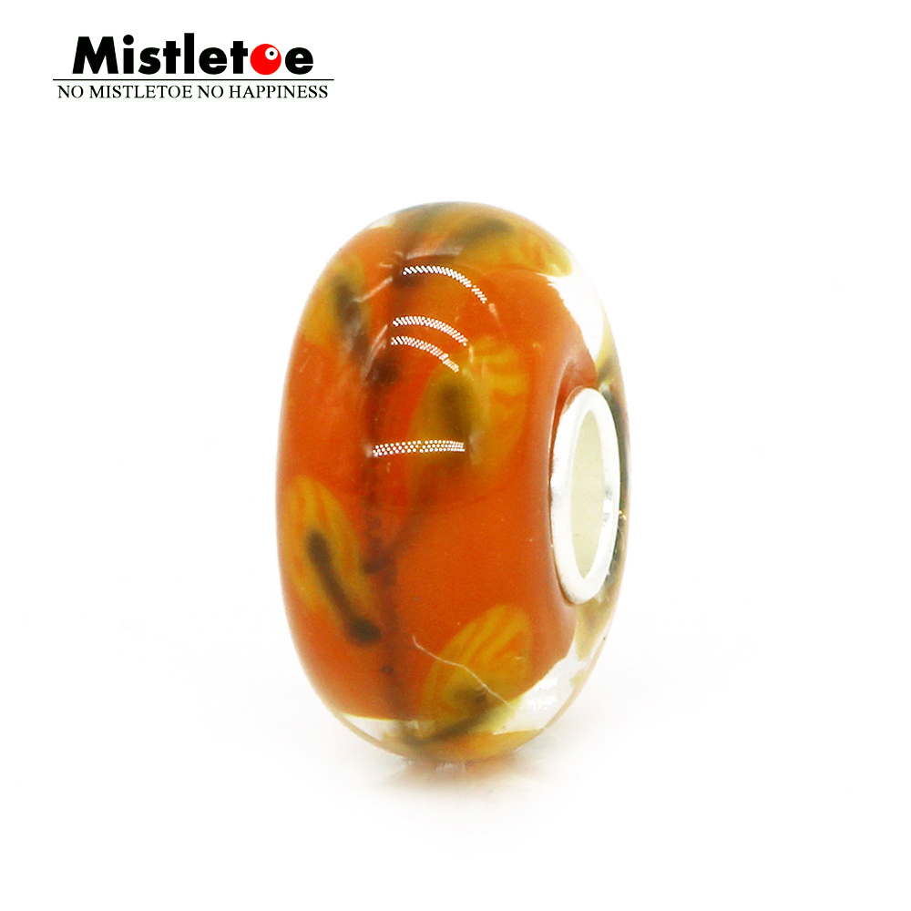 Mistletoe Jewelry 925 Sterling Silver Orange Yellow Summer Trees Murano Glass Charm Bead Fit European Bracelet