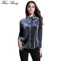 Spring Fashion Elegant Birds Beaded Turn Down Collar Long Sleeve Shirt Women Velvet Blouse OL Female
