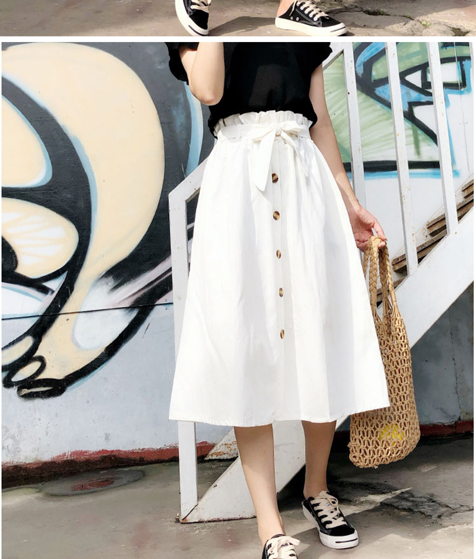 Gogoyouth Summer Skirts Womens 2018 New Midi Knee Length Korean Elegant Button High Waist Skirt Female Pleated Sun School Skirt 10