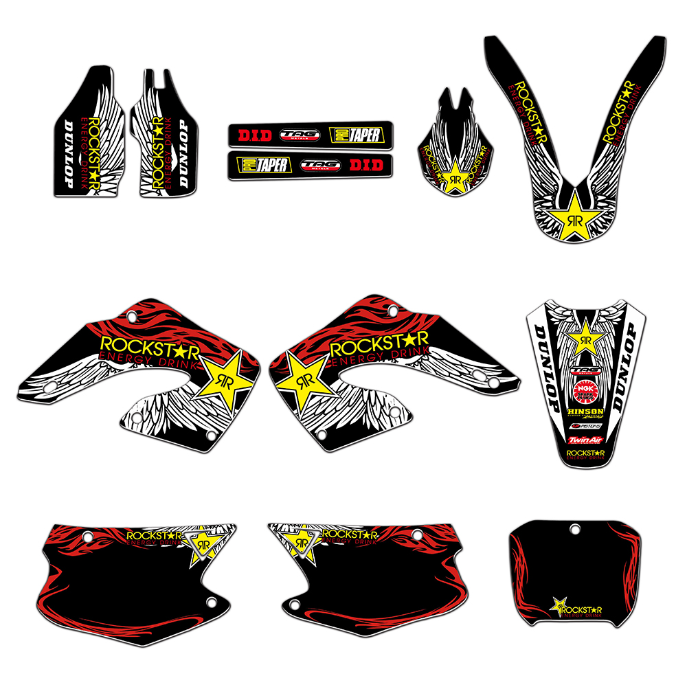 Motorcycle Team Graphics Withe Backgrounds Decals Stickers For Honda CR125 CR250 CR125R CR250R 2000 2001 CR